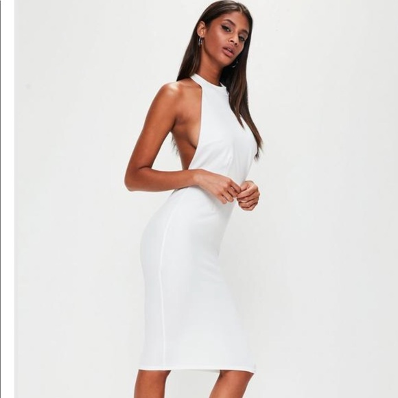 7e8034ca5b60 Missguided white halter midi dress. M 5a712b6b9cc7ef10e6b82404